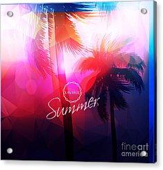 Paradise Island-palm Tree Sunset Acrylic Print