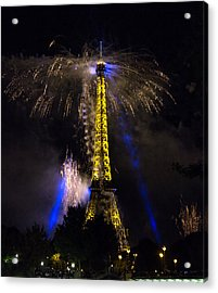 Paris - July Famous Fireworks Near Eiffel Tower During Celeb Acrylic Print