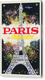 Paris Vintage Travel Poster Acrylic Print by Jon Neidert