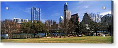 Park With Skyscrapers Acrylic Print