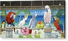Parrots In Paradise Acrylic Print by Danielle  Perry