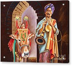 Acrylic Print featuring the painting Partners In Alms by Ragunath Venkatraman