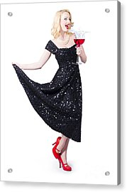 Party Woman In A Black Sequin Dress Over White Acrylic Print by Jorgo Photography - Wall Art Gallery