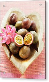 Passion Fruits (purple Granadilla) In Wooden Bowl Acrylic Print