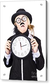 Past Tense Woman Running Out Of Time Acrylic Print by Jorgo Photography - Wall Art Gallery
