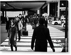 Pedestrians Crossing Crosswalk Carrying Luggage On Seventh 7th Ave Avenue  Acrylic Print by Joe Fox