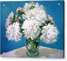 Acrylic Print featuring the painting Peonies II by Laura Aceto