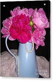 Peonies Pearls And Lace Acrylic Print by Margaret Newcomb