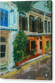 Acrylic Print featuring the painting Peranakan House by Belinda Low
