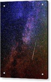 Perseid Meteor Track Over Santorini Acrylic Print