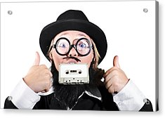 Person Holding Cassette In Mouth With Showing Thumb Up Sign Acrylic Print by Jorgo Photography - Wall Art Gallery