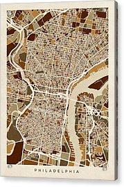 Philadelphia Pennsylvania Street Map Acrylic Print