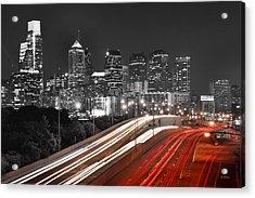 Philadelphia Skyline At Night Black And White Bw  Acrylic Print by Jon Holiday