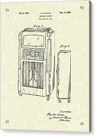 Phonograph Cabinet 1938 Patent Art Acrylic Print by Prior Art Design