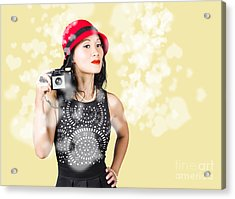 Photographer Taking Photos With Retro Film Camera Acrylic Print by Jorgo Photography - Wall Art Gallery