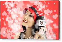 Photographer Woman With Camera. Photography Love Acrylic Print