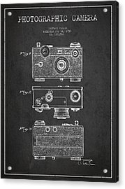 Photographic Camera Patent Drawing From 1938 Acrylic Print