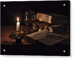 Acrylic Print featuring the photograph Vanitas With Lit Candle-roemer And Books by Levin Rodriguez