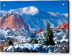 Pikes Peak In Winter Acrylic Print