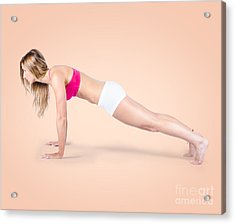Pilates Fitness Intructor On White Background Acrylic Print by Jorgo Photography - Wall Art Gallery