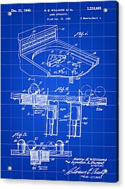 Pinball Machine Patent 1939 - Blue Acrylic Print by Stephen Younts