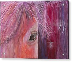Acrylic Print featuring the painting Pink Pony by Cathy Long