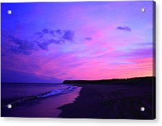 Acrylic Print featuring the photograph Pink Sky And Beach by Jason Lees