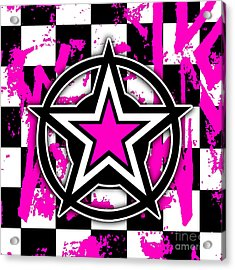 Pink Star Checkerboard Acrylic Print by Roseanne Jones