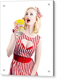 Pinup Cinema Girl At Box Office Movie Premiere Acrylic Print by Jorgo Photography - Wall Art Gallery