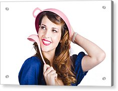 Pinup Cook In Funny Pose Acrylic Print by Jorgo Photography - Wall Art Gallery