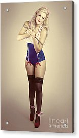 Pinup Sailor Girl With Antique Telescope Acrylic Print