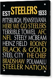 Pittsburgh Steelers Acrylic Print by Jaime Friedman