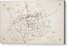 Plan Of The Battle Of Waterloo Acrylic Print by British Library
