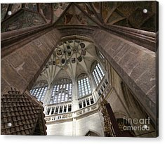 pointed vault of Saint Barbara church Acrylic Print by Michal Boubin