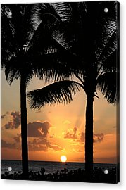 Poipu Beach Sunset Acrylic Print by Robert Lozen