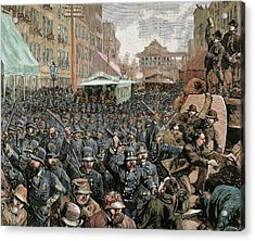 Police Officers Dispersing The Strike Acrylic Print
