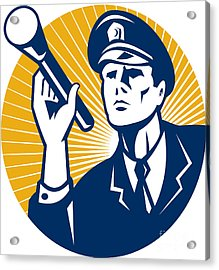 Policeman Security Guard With Flashlight Retro Acrylic Print by Aloysius Patrimonio