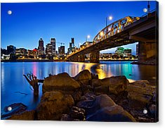 Acrylic Print featuring the photograph Portland Oregon Skyline At Blue Hour by JPLDesigns