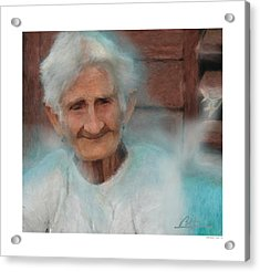 Acrylic Print featuring the painting Portrait Of A Cuban Granny by Bob Salo