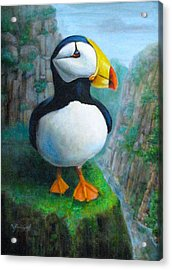 Acrylic Print featuring the painting Portrait Of A Puffin by Oz Freedgood
