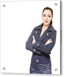 Portrait Of A Young Female Executive On White Acrylic Print by Jorgo Photography - Wall Art Gallery