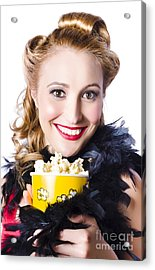 Portrait Of Woman With Popcorn Acrylic Print