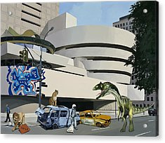 Acrylic Print featuring the painting Post-nuclear Guggenheim Visit by Scott Listfield