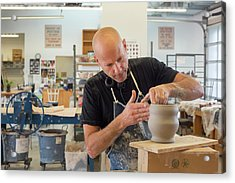 Potter At Work Acrylic Print by Jim West