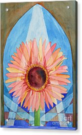 Acrylic Print featuring the painting Praying Gerbera by Shirin Shahram Badie