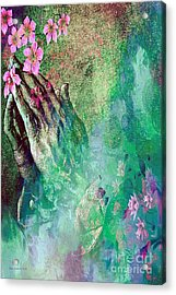 Praying Hands And Flowers Acrylic Print