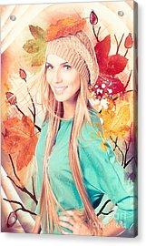 Pretty Blond Girl In Autumn Fashion Illustration Acrylic Print
