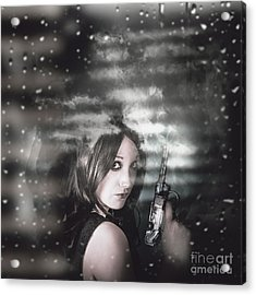 Pretty Female Spy Hiding In Shadows With Weapon Acrylic Print by Jorgo Photography - Wall Art Gallery
