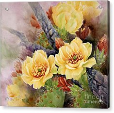Prickly Pear In Bloom Acrylic Print by Summer Celeste