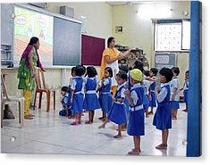 Primary School In Mumbai Acrylic Print by Mark Williamson